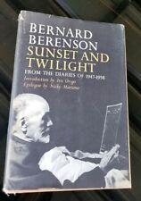 Bernard Berenson Sunset And Twilight~ Diaries of 1947-58~1st Edition 1963 Hcdj