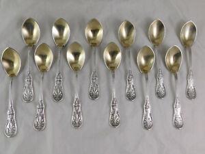 """12 Antique Sterling Silver Gilt 6"""" Ice Cream Spoons Tiffany & Co Saratoga Rare"""