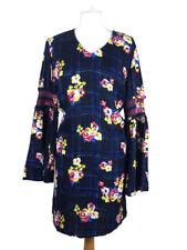 Tu Navy Blue Pink Floral Flute Sleeve Smock Aline Flared Winter Dress Size 12