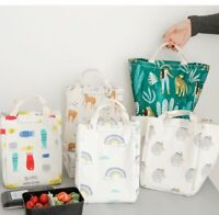Large Canvas Lunch Bag Insulated Thermal Cooler Lunch Bag Bento Picnic Organizer