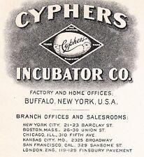 Cyphers Incubator Co Fowl Buffalo NY 1906 Cover C. Hurd Davison Michigan 4y