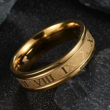 Acero Inoxidable - Chapado en Oro Números Romanos Anillo de Banda (FR397)