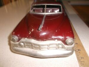 "1950 1952 Cadillac Tin Steel Toy Car 13 1/2"" Long 1951 1950s Caddy 1:18 Maroon"