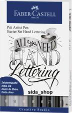 Faber Castell Tuschestift Grau PITT artist pen Handlettering Starterset 9-tlg.