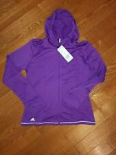 Adidas Youth Girl's Full Zip Up Hoodie solid purple soft lightweight size M