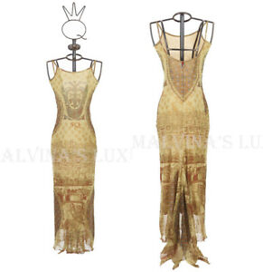 SAVE THE QUEEN LONG DRESS FLORENCE PRINT STRETCH TULLE sz M