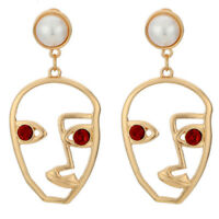 Fashion Hollow Abstract Face Cutout Ear Stud Dangle Drop Earrings Jewelry