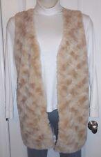 NWT I Knit Size M Long Almond Super Soft Faux Fur Vest Sweater Lined Front Wshbl