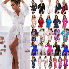 Womens Floral Satin Robe Kimono Dressing Gown Wedding Party Bridesmaid Sleepwear