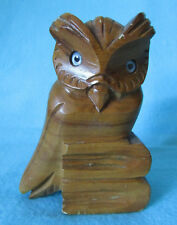 FAB RETRO WOODEN HAND CRAFTED *OWL ON BOOKS* ORNAMENT WITH GLASS EYES