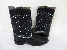 Black Leather Roper Cowboy Boots Youth Size 7 D Style 6901 USA
