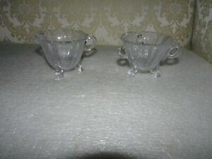 EARLY ETCHED GLASS CREAMER AND SUGAR BOWL