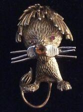 Vintage 60's Signed Les Bernard Sterling Vemeil Goldtone Lion Cub Brooch EVC HTF
