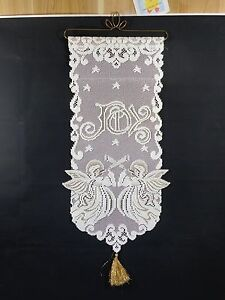 "Christmas Wall Hanging Angel Joy 31x13"" White Banner Gold Accents Lace Tassel"