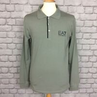 EA7 EMPORIO ARMANI MENS UK L KHAKI LONG SLEEVED POLO SHIRT DESIGNER SMART CASUAL