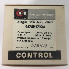 CUTLER HAMMER 9575H2723A SINGLE POLE A.C. RELAY 120 V 60 CY 16 AMPS 1-2 H.P. MAX