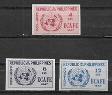 PHILIPPINES , UN , 1947, ECAFE , SET OF 3 STAMPS  ,  IMPERF,  VLH , CV$17.50