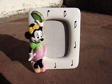 Vtg Disney Minnie Mouse Schmid Porcelain Music Box Picture Frame Nursery Decor