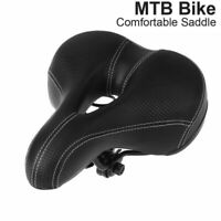 Comfort Bicycle Saddle Soft Wide Bike Cushion Seat With Waterproof Cover Black