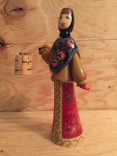 VINTAGE LINDEN WOOD RUSSIAN DOLL IN WINTER ATTIRE CARRYING TWO BUCKETS OF WATER
