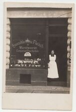 1910s Germany German Town Real Photo Postcard HOME MADE SAUSAGES Grocery Store