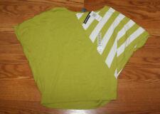 NWT Womens CHELSEA & THEODORE Green White Bat Wing Sleeve Shirt Top Sz M Medium