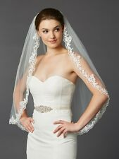 White Ivory Lace Edge Fingertip Mantilla Bridal Veil with Crystal & Beads