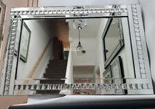 Silver Large  Mirror With Elegant Bling Crystal Squares Effect 80X120cm