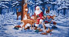 "23"" Fabric Panel - RJR Christmas Good Tidings Santa Claus Reindeer Scene"