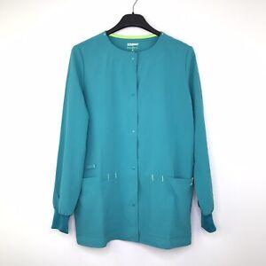 Scrubstar Women's XS Warm Up Jacket Snap Buttons Pockets Teal Blue NWT L17