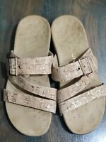 Vionic Skylar Womens Sz 8 M Cork Tan Podiatrist Designed Slip on Slides Sandals