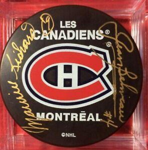 Maurice Richard Jean Beliveau Signed Autographed Puck  Montreal LES Canadiens