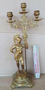 49cm Kerzenständer Messing römischer Soldat Figur Skulptur Kandelaber 3 Kerzen