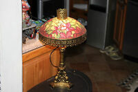 Vintage Reverse Painting On Glass Table Lamp-Flower Leaf Shade-Gold Metal Base