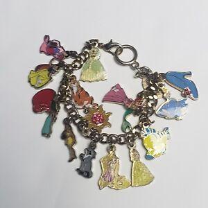 DIsney China Princess Charm Bracelet Rare 16 Charms