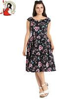 HELL BUNNY MADISON 50s DRESS hummingbird FLORAL blossom BLACK rockabilly  XS-4XL