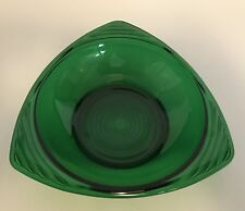 Vtg Forest Green Glass Ashtray Triangle Shape Candy Dish Art Deco  A14