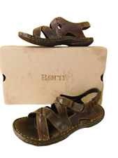 NEW Born Women 11 43 Gobi Slingback Sandals Brown Leather Cross Strap Adjustable