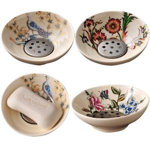 Portable Flower Pattern Soap Dish 11.5x4.5cm Ceramic Watch Storage Plate Holder