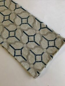 LOOK HERE JANE Pillow Cover Square 16 in Beige BLUE Geometric Modern Cotton