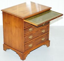 GEORGIAN STYLE SMALL CHEST OF DRAWERS BURR YEW WOOD GREEN LEATHER BUTLERS TRAY