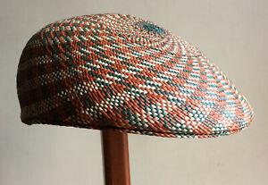 "Genuine Panama Hat Montecristi Flat cap ""Ivy"" red Men Woman Straw Ecuador"