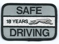 "Greyhound Bus ""18 years safe driving"" driver patch 2-1/2 X 3-3/4 inch"