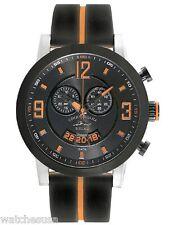 Tommy Bahama RELAX Men's Beach Cruiser Gunmetal Orange Dial Strap Watch RLX1220