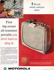 Motorola Big Screen Portable Television Set ALL TRANSISTOR TV 1960 Magazine Ad