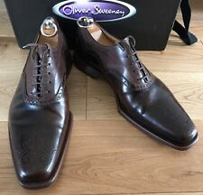 Oliver Sweeney Men's Picolit Brown Leather Formal Brogue Shoes Size UK 8 EU 42