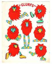 RARE Vintage 80's Stickers Retro 1981 Hallmark Red Fuzzy GLURFS Fluffy Seals