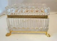 Antique French Gilded Brass Starburst Cut Crystal Casket Footed Jewelry Box
