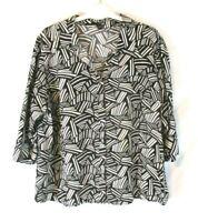 East 5th Shirt Blouse Shirt 3X Black White Button 3/4 Sleeve Career Women CB61T