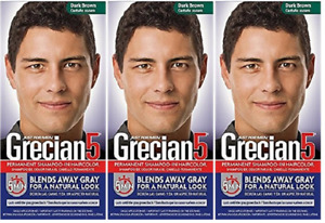 Grecian5 for Men, 5 Minute Permanent Shampoo-In Haircolor, Dark Brown (3 Pack)